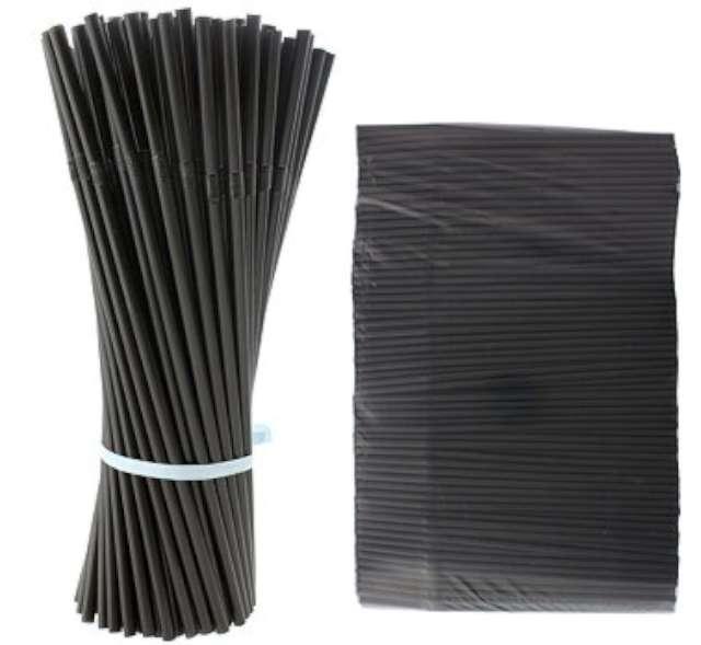 Słomki łamane, czarne, 21 cm, 1000 szt