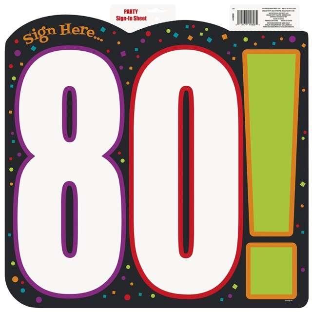 """Dekoracja kartonowa """"Urodziny 80"""", UNIQUE, 45x45 cm"""