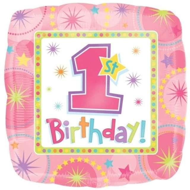 """Balon foliowy """"One-derful 1 Birthday"""", różowy, AMSCAN, 18"""" SQR"""