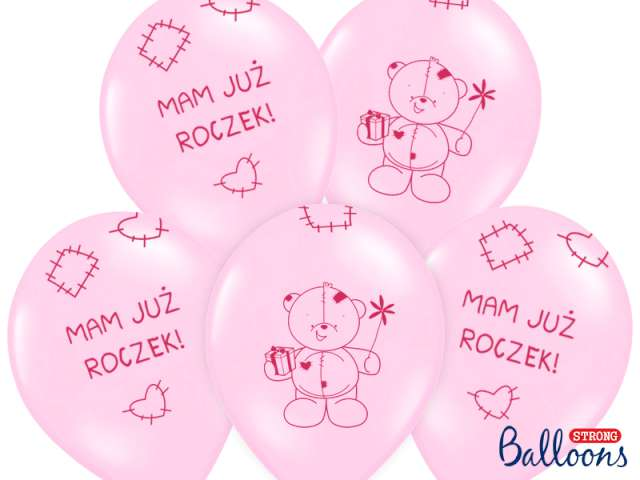 "Balony 14"", ""Mam już roczek"", STRONG, Baby Pink, 6 szt"