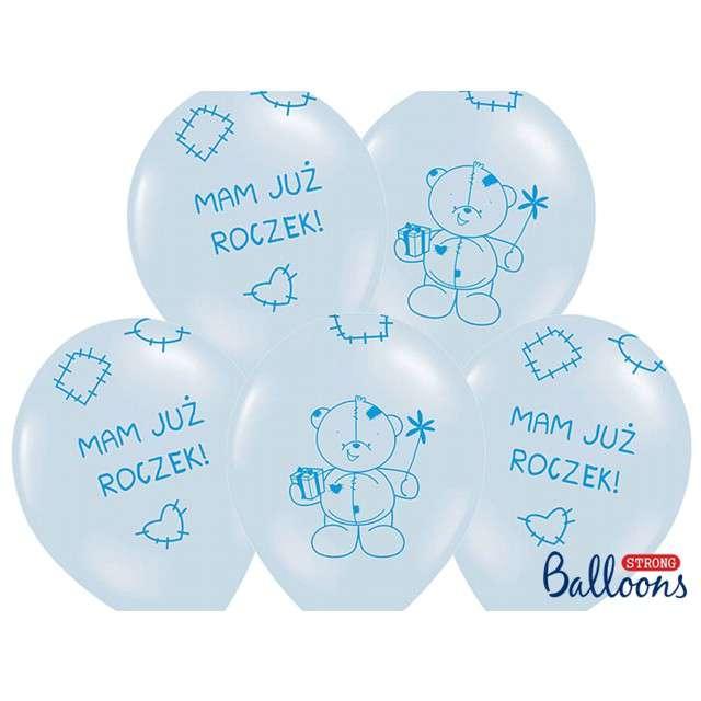"Balony 14"", ""Mam już roczek"", STRONG, Baby Blue, 6 szt"