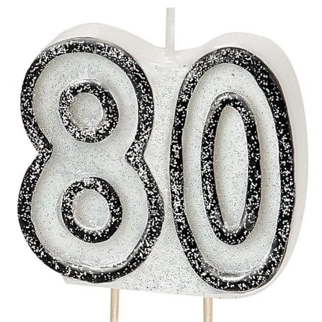 """Świeczka na tort """"80"""", UNIQUE, biała brokatowa, 6 cm"""