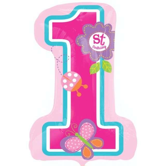 """Balon foliowy cyfra 1, 28"""", różowa 1st Birthday"""