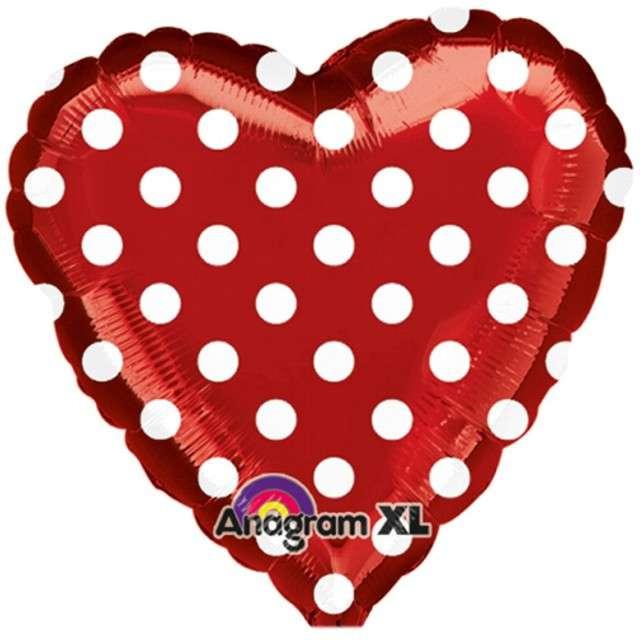 """Balon foliowy """"Serce w kropki"""", czerwone, AMSCAN, 18"""""""