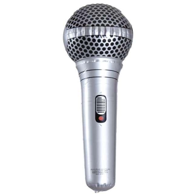 Dmuchany mikrofon WIDMANN srebrny, 25 cm
