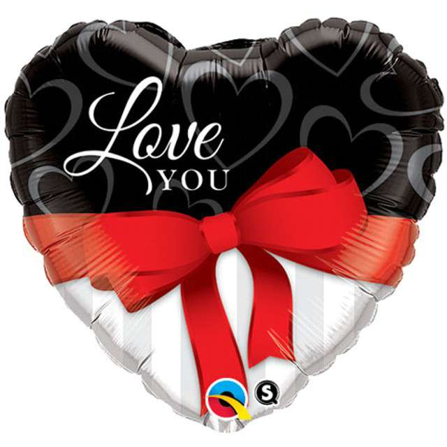 "Balon foliowy ""Love You Red Ribbon"", Qualatex, 18"" HRT"