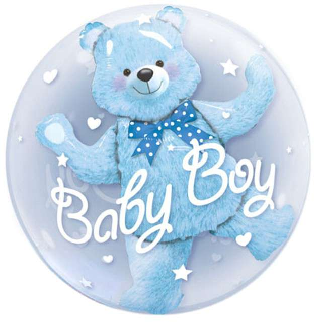 """Balon foliowy """"Misiek Baby Boy w balonie"""", QUALATEX, 24"""" ORB"""