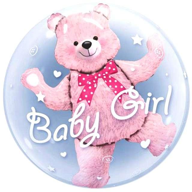 """Balon foliowy """"Misiek Baby Girl w balonie"""", QUALATEX, 24"""" ORB"""