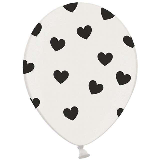 "Balony 14"", ""Serca"", STRONG, pastel white/black, 6 szt"