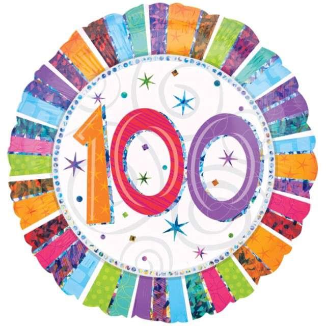 """Balon foliowy """"Urodziny100"""", AMSCAN, 18"""" RND"""