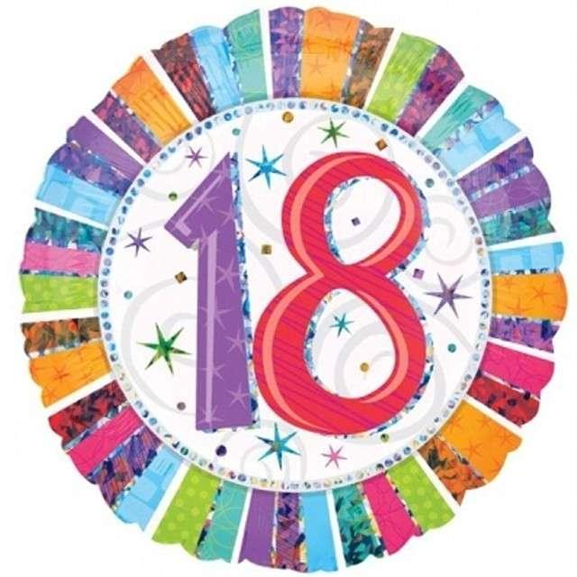 """Balon foliowy """"Urodziny 18"""", AMSCAN, 18"""" CIR"""