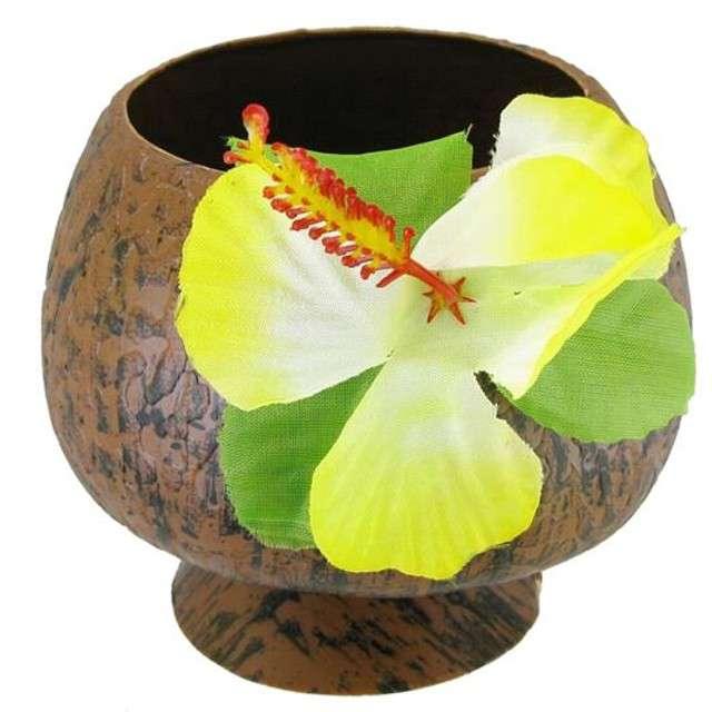 """Kubek plastikowy """"Kokos"""" z kwiatkiem"""