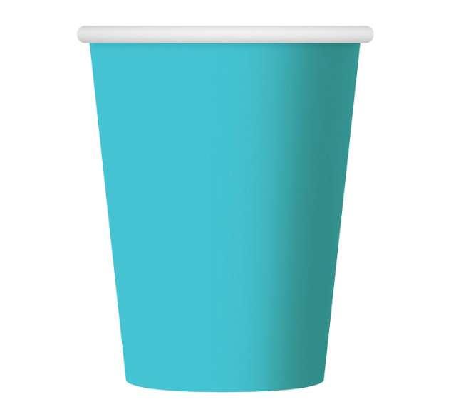 Kubeczki papierowe 270 ml, błękitne, 6 szt
