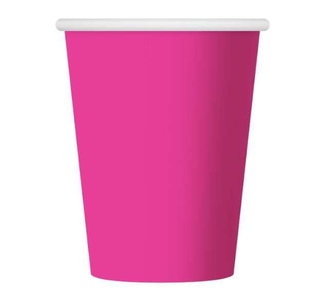 Kubeczki papierowe 270 ml, różowe, 6 szt