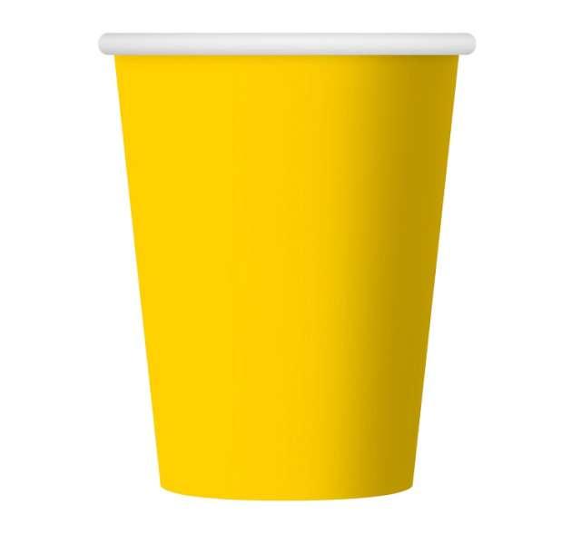 Kubeczki papierowe 270 ml, żółte, 6 szt