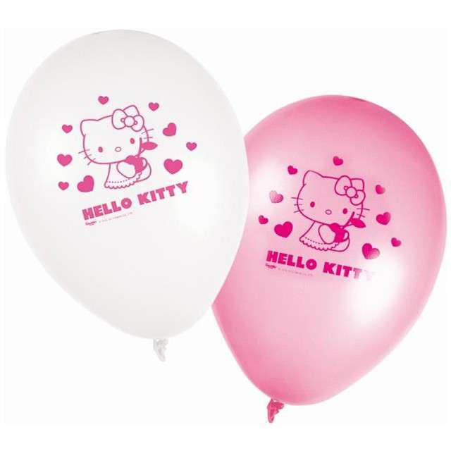 "Balony 11"", ""Hello Kitty"", PROCOS,  White & Pink, 8 szt"