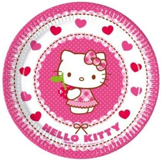 """Talerzyki papierowe """"Hello Kitty"""", 20 cm, 8 szt"""