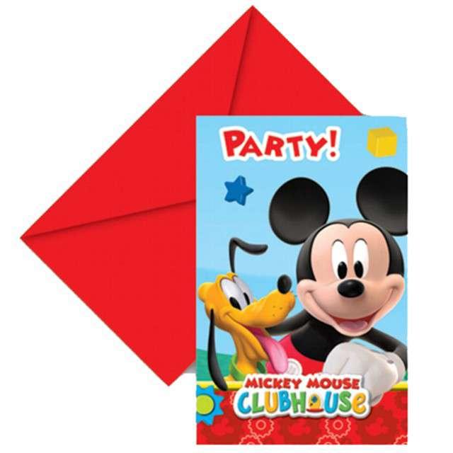 "Zaproszenia z kopertą ""Mickey Mouse"" 6 szt"