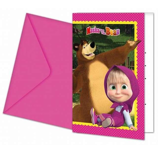 """Zaproszenia z kopertą """"Masha And The Bear"""", PROCOS, 6 szt"""