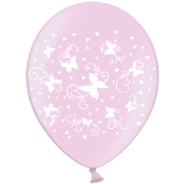 """Balony 14"""", """"Motylki"""", STRONG, Metalik Pink, 50 szt"""