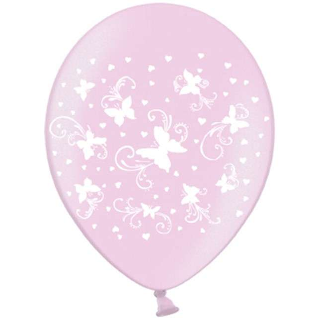 """Balony 14"""", """"Motylki"""", STRONG, Metalik Pink, 6 szt"""