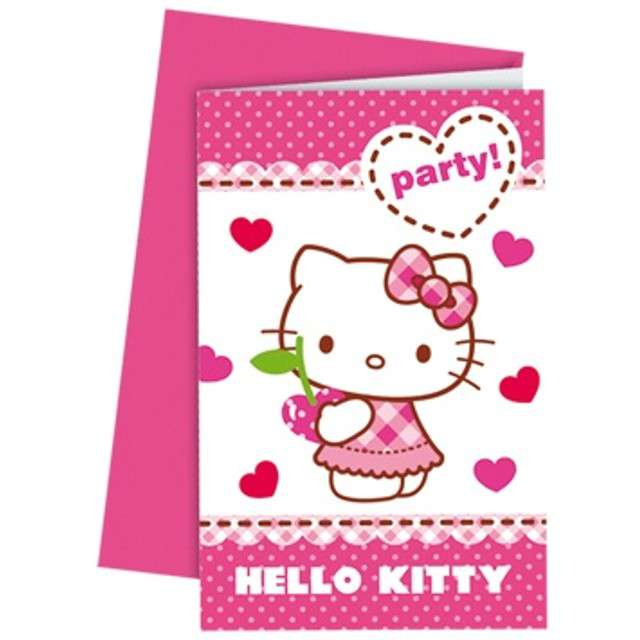 "Zaproszenia z kopertą ""Hello Kitty"" 6 szt"