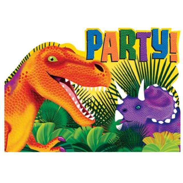 """Zaproszenia z kopertą """"Prehistoric"""", AMSCAN, 8 szt"""
