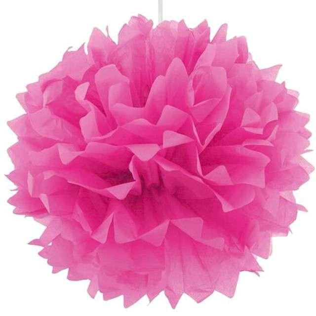 Pompon bibułowy, różowy, 40 cm