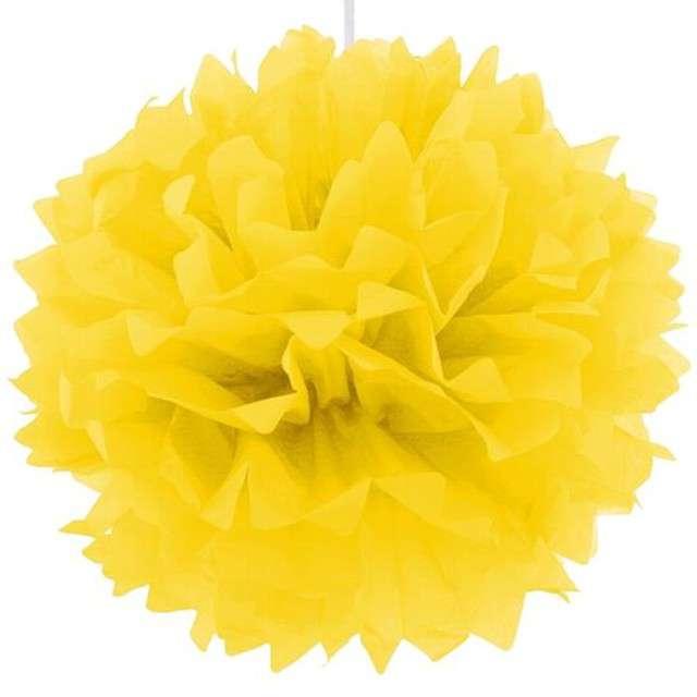 Pompon bibułowy, żółty, 40 cm