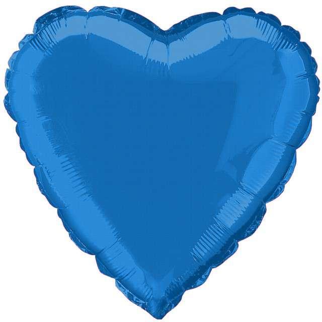 """Balon foliowy """"Serce"""", niebieskie, AMSCAN, 18"""" HRT"""