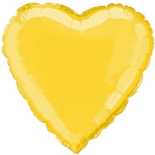 """Balon foliowy """"Serce"""", złote, FLEXMETAL, 18"""""""