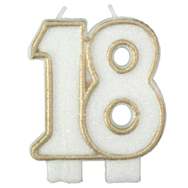"""Świeczka na tort """"18"""", ARPEX, złota brokatowa, 6 cm"""