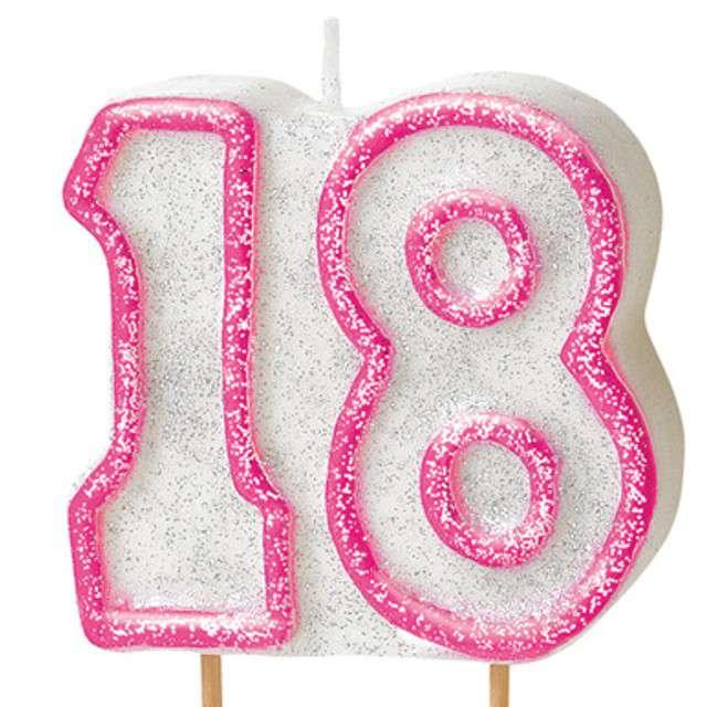 """Świeczka na tort """"18"""", UNIQUE, różowa brokatowa, 6 cm"""