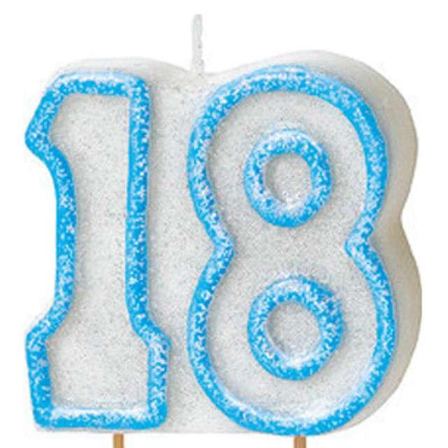 """Świeczka na tort """"18"""", UNIQUE, niebieska brokatowa, 6 cm"""