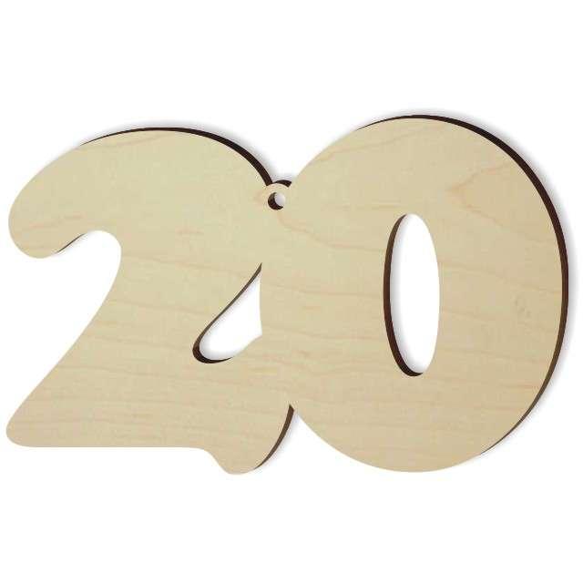 """Zawieszka drewniana """"Urodziny 20"""", 93 x 60 mm"""