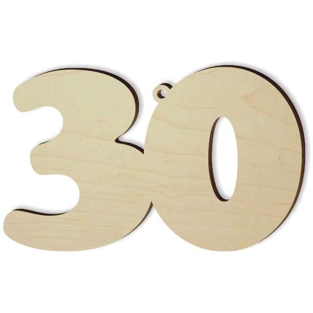 """Zawieszka drewniana """"Urodziny 30"""", 96 x 60 mm"""