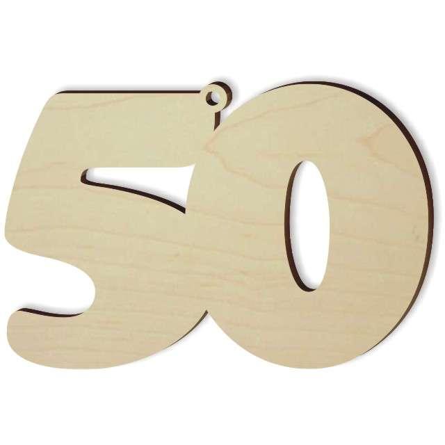"""Zawieszka drewniana """"Urodziny 50"""", 89 x 60 mm"""