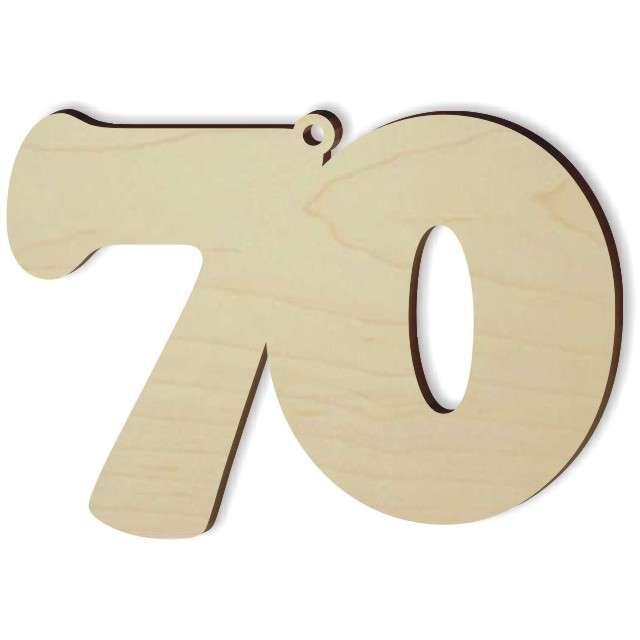 """Zawieszka drewniana """"Urodziny 70"""", 85 x 60 mm"""