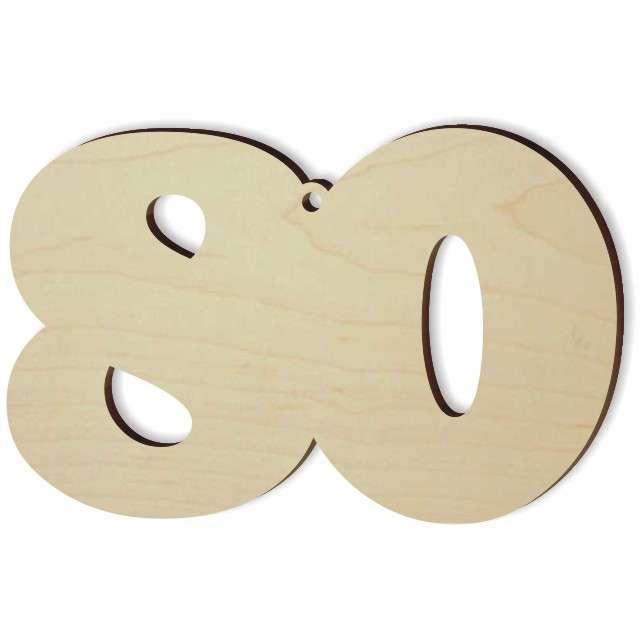 """Zawieszka drewniana """"Urodziny 80"""", 94 x 60 mm"""