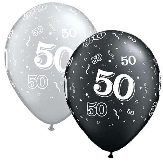 """Balony """"50"""", pastel czarny, srebrny mix, QUALATEX, 11"""", 25 szt"""