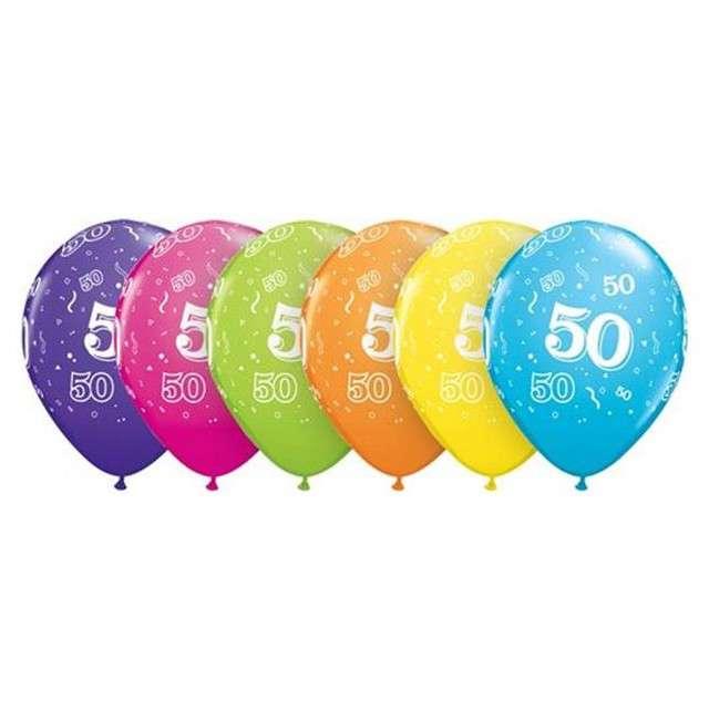 """Balony 11"""", """"Liczba 50"""", QUALATEX, mix tropikalny, 6 szt"""