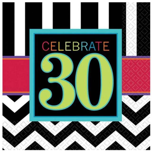 """Serwetki """"30 urodziny Chevron Birthday"""", 33 cm, 16 szt"""