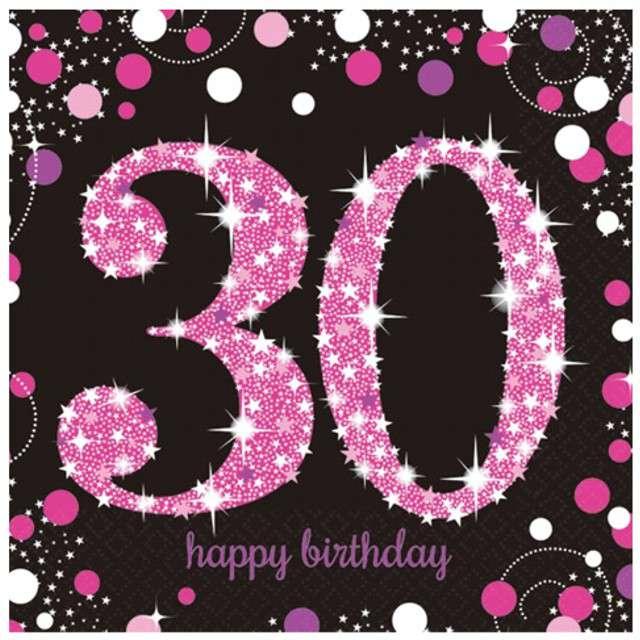 """Serwetki """"30 Urodziny - Sparkling Celebrations Pink"""", AMSCAN, 33 cm, 16 szt"""