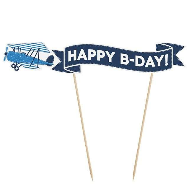 "Dekoracja tortu piker ""Happy B-Day"", Samolocik, 19 cm"