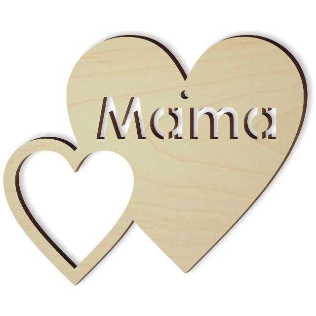"""Zawieszka drewniana """"Podwójne serce - mama"""", 101x84 mm"""