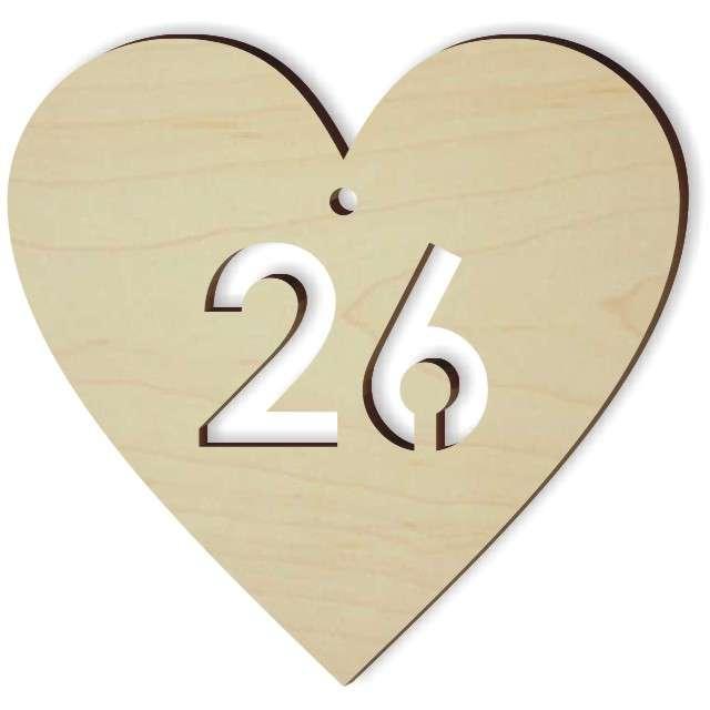 """Zawieszka drewniana """"Serce 26"""", 72x70 mm"""