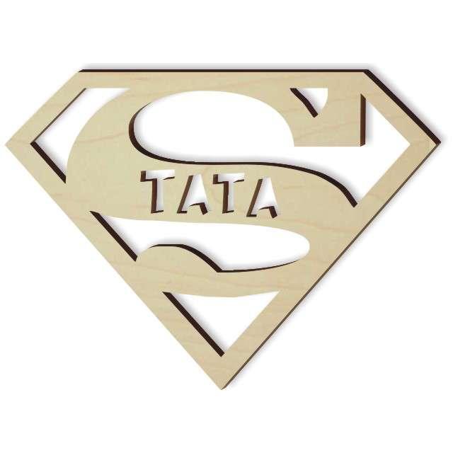 """Zawieszka drewniana """"SUPER Tata"""", 100x74 mm"""