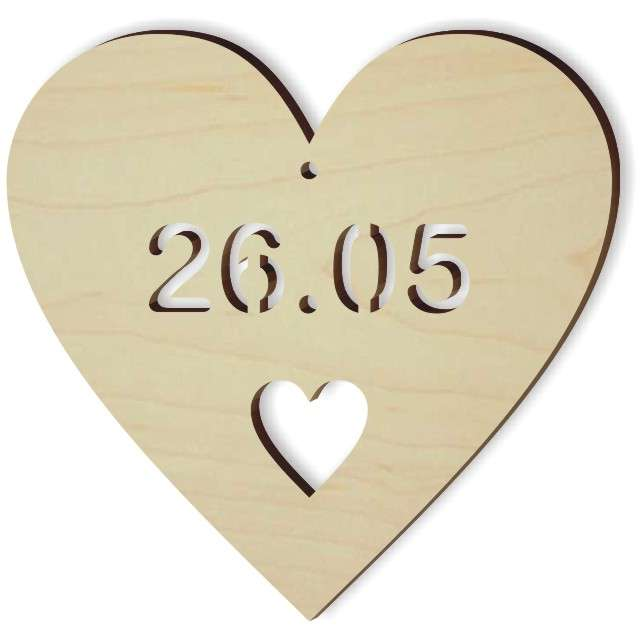 """Zawieszka drewniana """"26.05 serce"""", 103x100 mm"""
