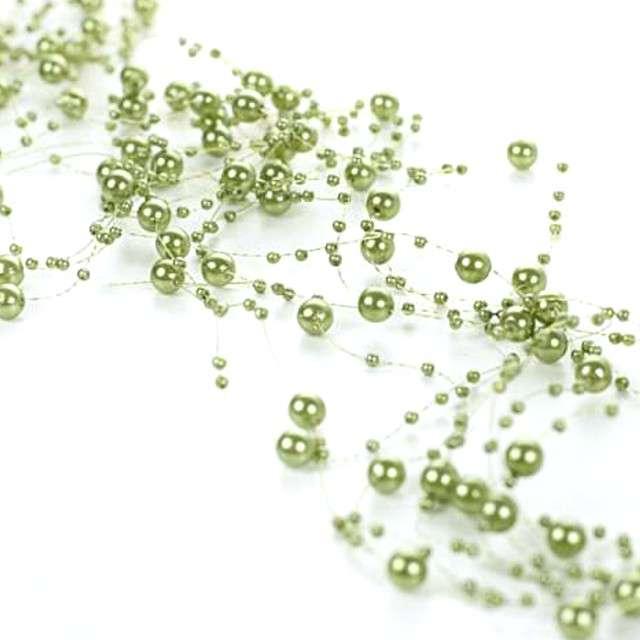 Girlandy perłowe, zielona, 1,3 m x 5 szt