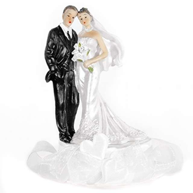 """Figurka na tort """"Para Młoda i białe serca"""", 15 cm"""